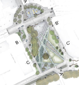 Croquis de réaménagement place Bruxelles   Geneviève Errembault, architecte paysagiste - landscape designer Bruxelles