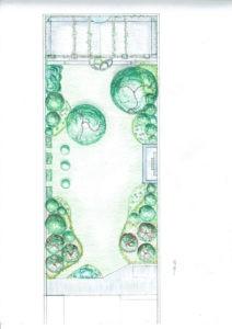 Croquis ordinateur colorisé : Plan de plantation Louis à Bruxelles | Geneviève Errembault, architecte paysagiste - landscape designer Bruxelles