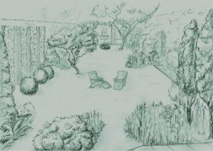 Croquis à la main jardin : réaménagement jardin - terrasse | Geneviève Errembault, architecte paysagiste - landscape designer Bruxelles