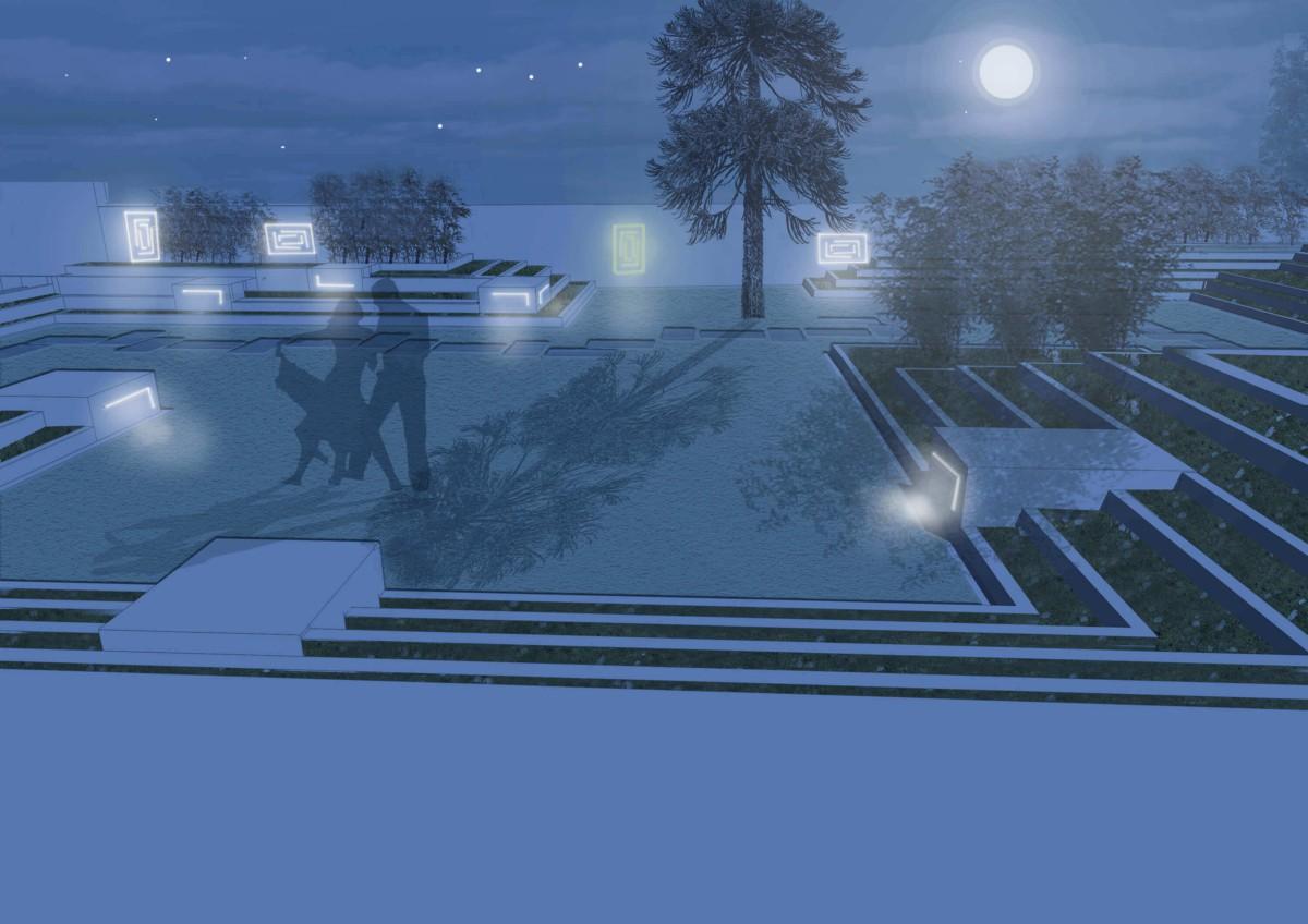 Projet ré-aménagement Lamarche : jardin, terrasse et maison à Bruxelles : croquis nuit | Geneviève Errembault, architecte paysagiste - landscape designer Bruxelles