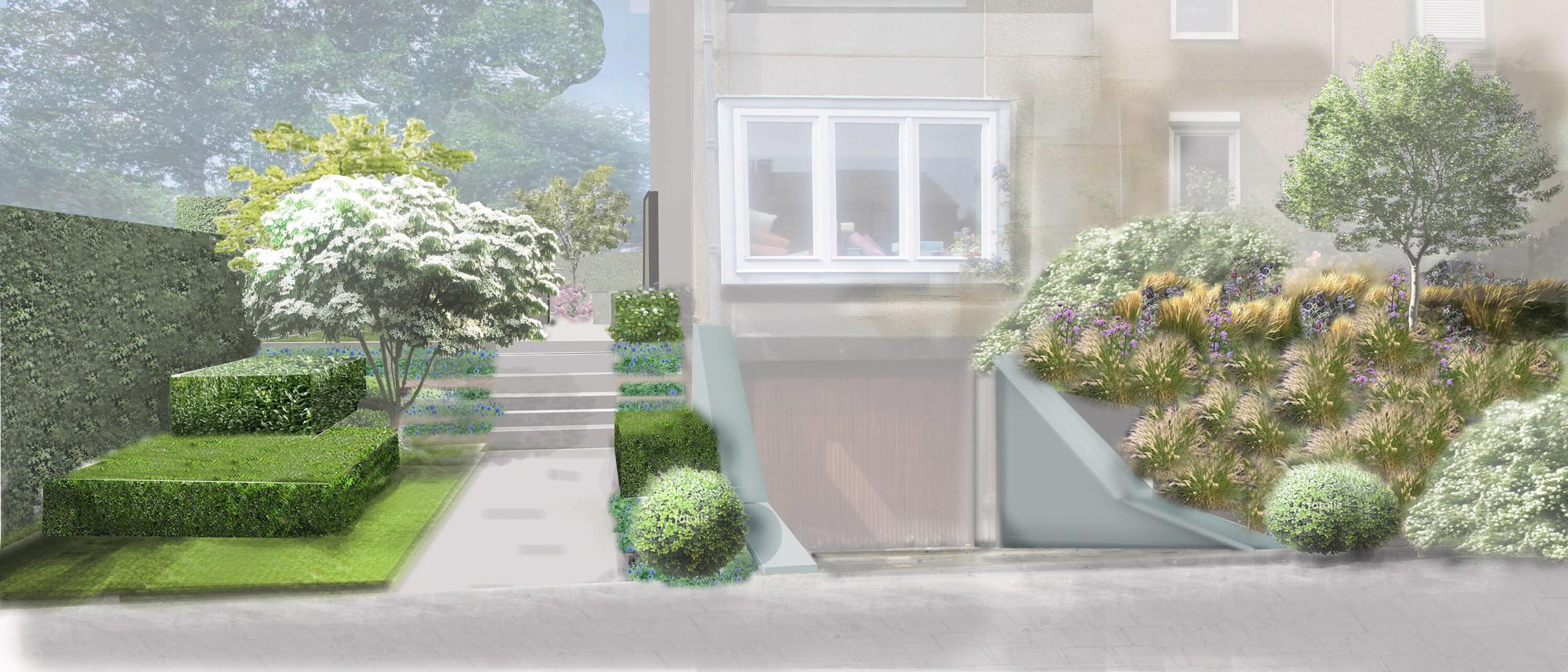 Aménagement d'un jardin privé pour une maison quatre façades dans la capitale