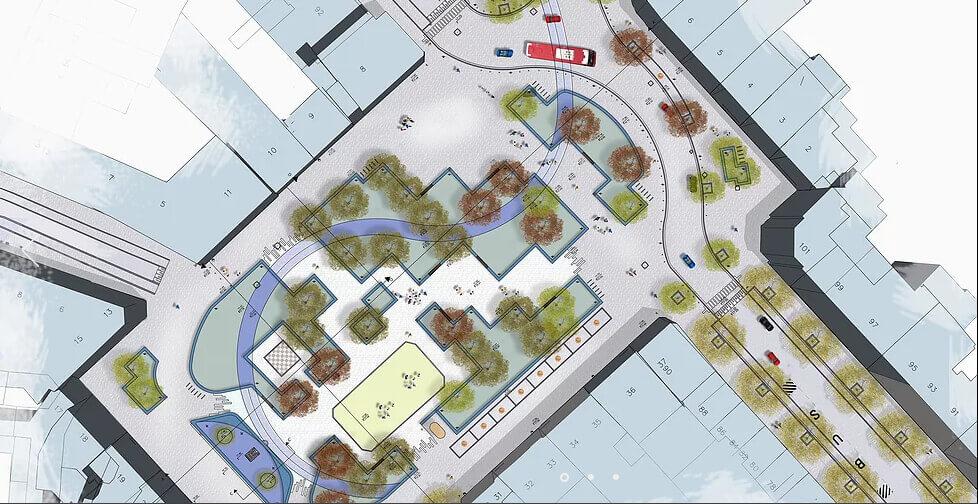 Réaménagement nouveau marché aux Grains à Bruxelles   Geneviève Errembault, architecte paysagiste - landscape designer Bruxelles