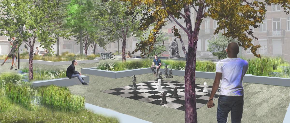 Jardins de pluis vue échiquier- croquis, Bruxelles   Geneviève Errembault, architecte paysagiste - landscape designer Bruxelles